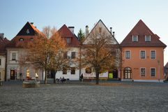 Beautiful medieval houses that line the Town Hall Square Bardejov, Slovakia stock photos