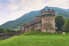 Beautiful medieval Montebello castle in Bellinzona. Switzerland Royalty Free Stock Photos
