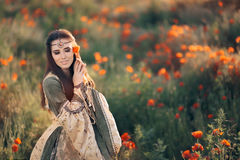 Beautiful Medieval Queen Daydreaming in Nature Stock Image