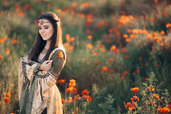 Beautiful Medieval Queen Daydreaming in Nature Royalty Free Stock Photo