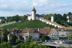 The beautiful medieval town of Schaffhausen with Munot fortless Royalty Free Stock Photo