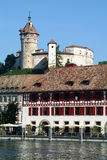 The beautiful medieval town of Schaffhausen and the Rhine river Royalty Free Stock Photo