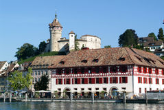 The beautiful medieval town of Schaffhausen and the Rhine river Royalty Free Stock Images