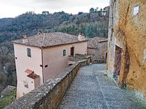 The beautiful medieval village of Sorano, Italy. A winter view of the ancient medieval city of Sorano located in Tuscany, Italy Royalty Free Stock Photography