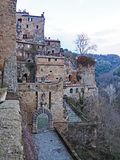 The beautiful medieval village of Sorano, Italy. A winter view of the ancient medieval city of Sorano located in Tuscany, Italy Royalty Free Stock Photo