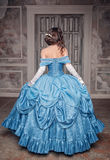 Beautiful medieval woman in blue dress, back Stock Images