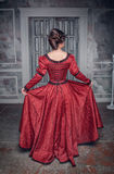 Beautiful medieval woman in red dress, back Stock Images