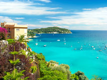 Beautiful mediterranean landscape, french riviera. Beautiful mediterranean landscape, view of luxury resort and bay, french riviera, France, near Nice and Monaco Stock Images