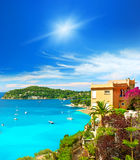 Beautiful mediterranean landscape, french riviera. Beautiful mediterranean landscape, view of luxury resort and bay of Villefranche-sur-Mer, Cote d'Azur, french Royalty Free Stock Photo
