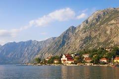 Beautiful Mediterranean landscape. Montenegro, Adriatic Sea. View of Bay of Kotor and  seaside Dobrota town on summer day. Beautiful Mediterranean landscape stock photos