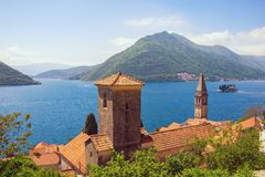 Beautiful Mediterranean landscape. Montenegro, Bay of Kotor. View of ancient town of Perast  and island of St. George Stock Image