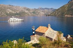 Beautiful Mediterranean landscape. Montenegro . View of Bay of Kotor, Church of Our Lady of the Angels and two small islands. Beautiful Mediterranean landscape royalty free stock photo