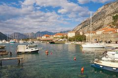 Beautiful Mediterranean landscape. Montenegro. View of Bay of Kotor near Old Town of Kotor city on sunny day. Beautiful Mediterranean landscape. Montenegro. View stock photos