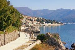 Beautiful Mediterranean landscape. Montenegro. View of embankment of Herceg Novi town on sunny winter day stock photo