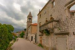 Beautiful mediterranean landscape - town Tivat, Kotor bay Boka Kotorska , Montenegro.  stock photography