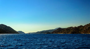 Beautiful Mediterranean landscape with yacht Stock Images