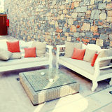 Beautiful mediterranean patio with white outdoor furniture(Greec Stock Photos