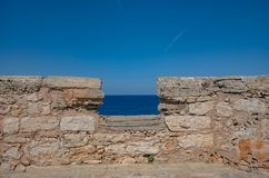 Beautiful Mediterranean seacoast on a sunny day in Spain, Europe. Beautiful Mediterranean seacoast on a warm, sunny day in Spain, Europe stock image