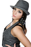 Beautiful Mediterranean Teenager with Grey Hat. Shot of a Beautiful Mediterranean Teenager with Grey Hat Stock Photography