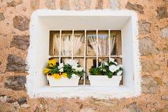 Beautiful Mediterranean window in Deia Stock Photos