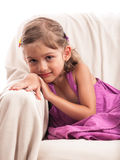 Beautiful melancholic little girl portrait Stock Photo
