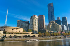 Beautiful Melbourne Southbank cityscape with Yarra river view. On sunny day. Modern skyline with water view Royalty Free Stock Photography