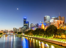 Beautiful Melbourne sunset skyline with Yarra river reflections Royalty Free Stock Images