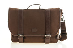 Beautiful men fashion with leather messenger bag Stock Image