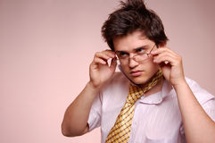 Beautiful men with glasses. Royalty Free Stock Photo