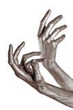 Beautiful men metal hands Stock Images