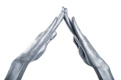 Beautiful men metal hands with long fingers Royalty Free Stock Photos
