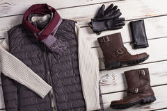 Beautiful men's warm clothes. Royalty Free Stock Photos