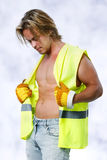 Beautiful men with a safety shirt Royalty Free Stock Images