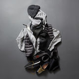 Beautiful men& x27;s clothes and accessories on a black background. Royalty Free Stock Image