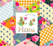 Beautiful menu template with happy dragons on patchwork background. Royalty Free Stock Images