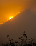 Beautiful Merapi volcano at sunrise, Java, Indonesia Stock Photos