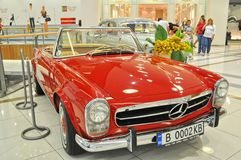 Beautiful Mercedes 230SL 1963 on retro car display Royalty Free Stock Photos