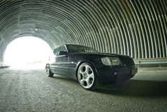 Beautiful Mercedes on the road in a tunnel Stock Photography