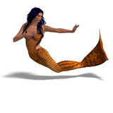 Beautiful mermaid. 3D render with clipping path and shadow over white Royalty Free Stock Photo