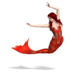 Beautiful mermaid. 3D render with clipping path and shadow over white Royalty Free Stock Photography