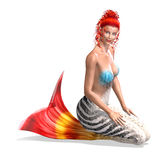 Beautiful mermaid. 3D render with clipping path and shadow over white Stock Image