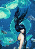 Beautiful mermaid. Magic underwater ( photo compilation Stock Images