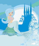 Beautiful mermaid,castle and fish Stock Photo