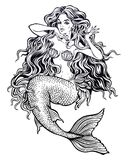 Beautiful mermaid girl with fairytale hair art. Hand drawn artwork of beautiful mermaid girl with fairytale hair. Graceful ocean siren in retro style. Sea stock illustration