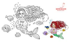 Beautiful mermaid girl holding a pearl in a shell coloring page Stock Photo