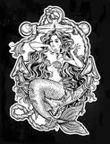 Beautiful mermaid girl with vintage anchor. Hand drawn artwork of beautiful mermaid girl sitting on the anchor. Graceful ocean siren in retro style. Sea fantasy Stock Images