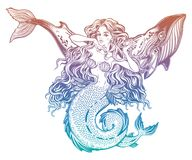 Beautiful mermaid girl with a whale in her hair.