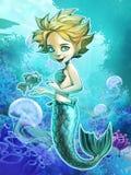 Beautiful mermaid with her pet fish Stock Image