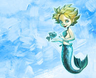 Beautiful mermaid with her pet fish Royalty Free Stock Photo