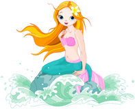 Beautiful Mermaid. Illustration of a Beautiful mermaid girl sitting on the stone Royalty Free Stock Photo